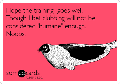 """Hope the training  goes well. Though I bet clubbing will not be considered """"humane"""" enough. Noobs."""