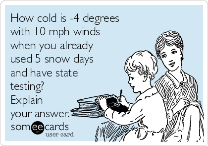 how cold is 4 degrees with 10 mph winds when you already used 5 snow