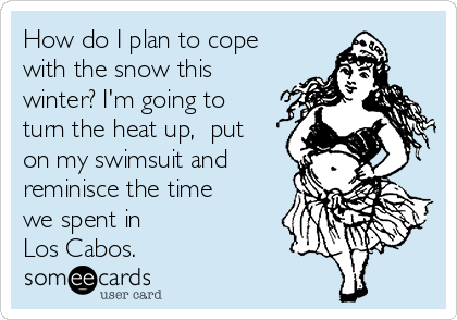 How do I plan to cope with the snow this winter? I'm going to turn the heat up,  put on my swimsuit and reminisce the time we spent in  Los Cabos.