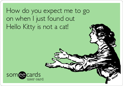 How do you expect me to go          on when I just found out    Hello Kitty is not a cat!