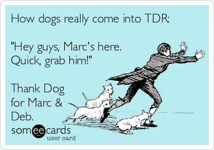 "How dogs really come into TDR:   ""Hey guys, Marc's here. Quick, grab him!""  Thank Dog for Marc & Deb."