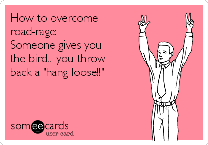 "How to overcome  road-rage: Someone gives you the bird... you throw back a ""hang loose!!"""