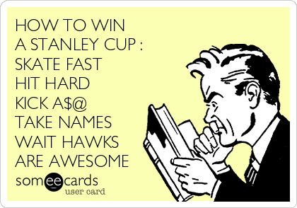HOW TO WIN A STANLEY CUP : SKATE FAST HIT HARD KICK A$@ TAKE NAMES WAIT HAWKS  ARE AWESOME