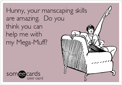 Hunny, your manscaping skills are amazing.  Do you think you can help me with my Mega-Muff?