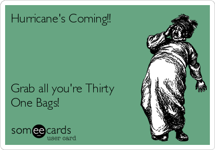 Hurricane's Coming!!     Grab all you're Thirty One Bags!