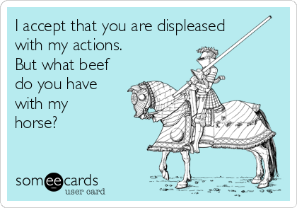 I accept that you are displeased with my actions. But what beef do you have with my horse?