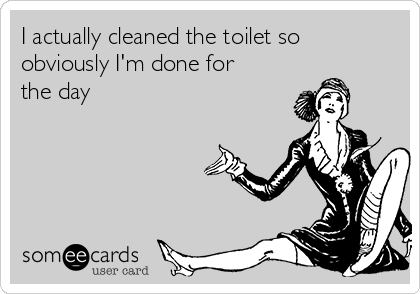 I actually cleaned the toilet so obviously I'm done for the day