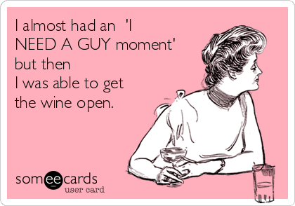 I almost had an  'I NEED A GUY moment'  but then  I was able to get the wine open.