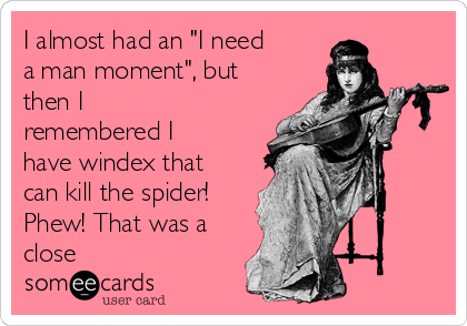 """I almost had an """"I need a man moment"""", but then I remembered I have windex that can kill the spider! Phew! That was a close"""