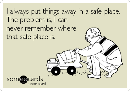 I always put things away in a safe place. The problem is, I can never remember where that safe place is.