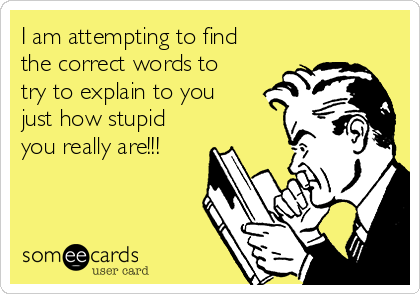 I am attempting to find the correct words to try to explain to you just how stupid you really are!!!