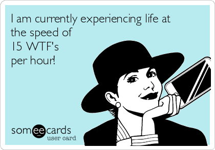 I am currently experiencing life at the speed of 15 WTF's  per hour!