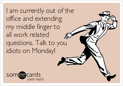 I am currently out of the office and extending my middle finger to all work related questions. Talk to you idiots on Monday!