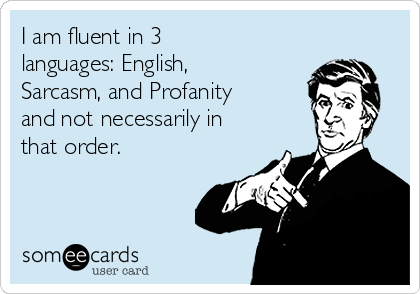 I am fluent in 3 languages: English, Sarcasm, and Profanity and not necessarily in that order.