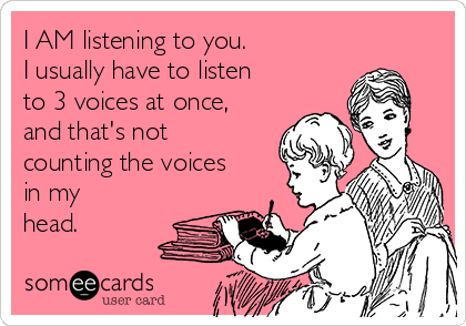 I AM listening to you.   I usually have to listen to 3 voices at once, and that's not counting the voices in my head.
