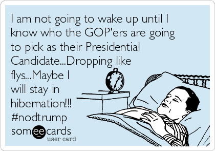 I am not going to wake up until I know who the GOP'ers are going to pick as their Presidential Candidate...Dropping like flys...Maybe I will stay in hibernation!!! #nodtrump