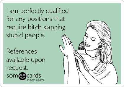 I am perfectly qualified for any positions that require bitch slapping stupid people.  References available upon request.