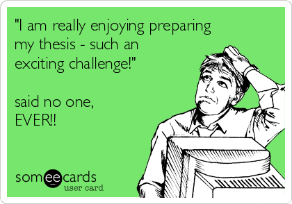 """I am really enjoying preparing my thesis - such an exciting challenge!""  said no one, EVER!!"