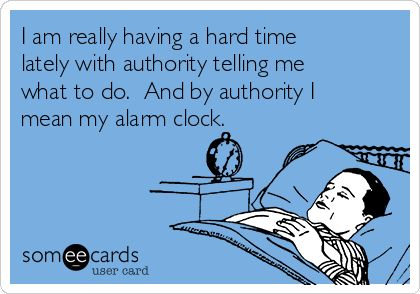 I am really having a hard time lately with authority telling me what to do.  And by authority I mean my alarm clock.