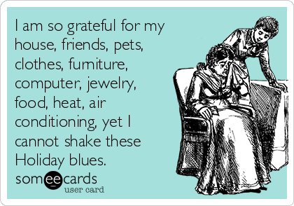 I am so grateful for my house, friends, pets, clothes, furniture, computer, jewelry, food, heat, air conditioning, yet I cannot shake these Holiday blues.
