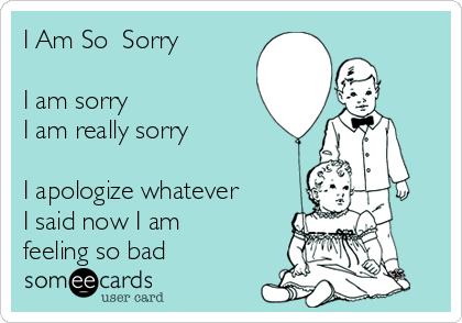 I Am So  Sorry  I am sorry I am really sorry  I apologize whatever  I said now I am feeling so bad