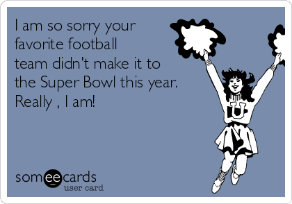 I am so sorry your  favorite football team didn't make it to the Super Bowl this year.  Really , I am!