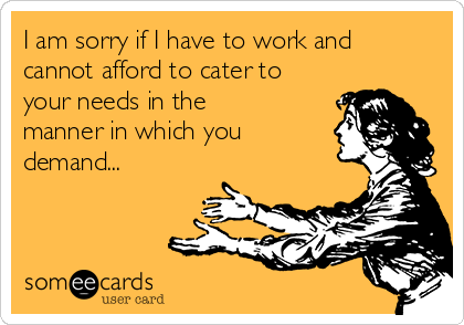 I am sorry if I have to work and cannot afford to cater to your needs in the manner in which you demand...