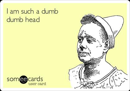 I am such a dumb dumb head