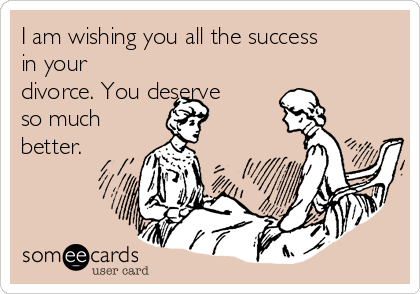 I am wishing you all the success in your divorce. You deserve so much better.