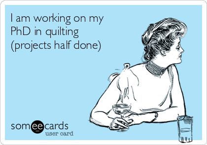 I am working on my PhD in quilting (projects half done)