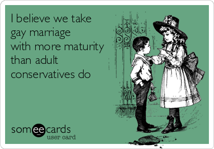 I believe we take gay marriage with more maturity than adult conservatives do