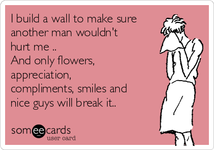 I build a wall to make sure another man wouldn't hurt me .. And only flowers, appreciation, compliments, smiles and nice guys will break it..