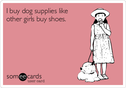 I buy dog supplies like other girls buy shoes.