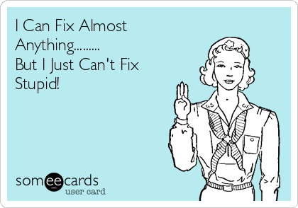 I Can Fix Almost Anything......... But I Just Can't Fix Stupid!