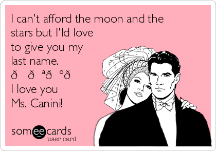 I can't afford the moon and the stars but I'ld love to give you my last name.