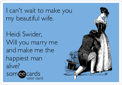 I can't wait to make you my beautiful wife.  Heidi Swider,  Will you marry me and make me the happiest man alive?