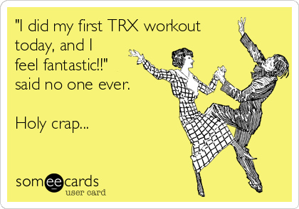 """""""I did my first TRX workout today, and I feel fantastic!!"""" said no one ever.  Holy crap..."""