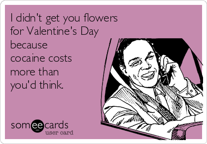 I didn't get you flowers for Valentine's Day because cocaine costs more than you'd think.