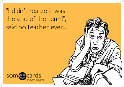 """""""I didn't realize it was the end of the term!"""", said no teacher ever..."""