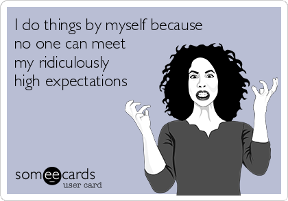 I do things by myself because  no one can meet my ridiculously high expectations