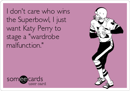 """I don't care who wins the Superbowl, I just want Katy Perry to stage a """"wardrobe  malfunction."""""""
