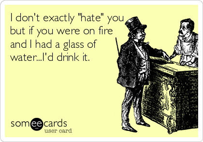 "I don't exactly ""hate"" you but if you were on fire and I had a glass of  water...I'd drink it."