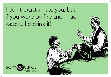 I don't exactly hate you, but if you were on fire and I had water... I'd drink it!