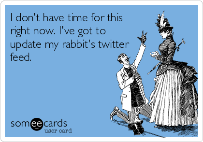 I don't have time for this right now. I've got to update my rabbit's twitter feed.
