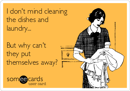 I don't mind cleaning the dishes and laundry...  But why can't they put themselves away?