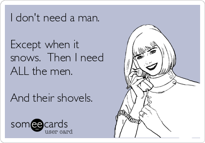I don't need a man.  Except when it snows.  Then I need ALL the men.  And their shovels.