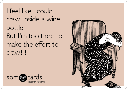 I feel like I could crawl inside a wine bottle But I'm too tired to make the effort to crawl!!!!