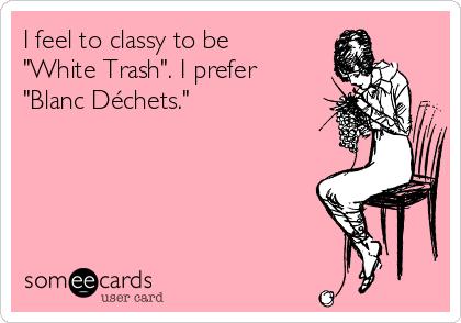 "I feel to classy to be ""White Trash"". I prefer ""Blanc Déchets."""