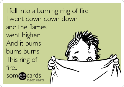 I fell into a burning ring of fire I went down down down and the flames went higher And it burns burns burns This ring of fire...