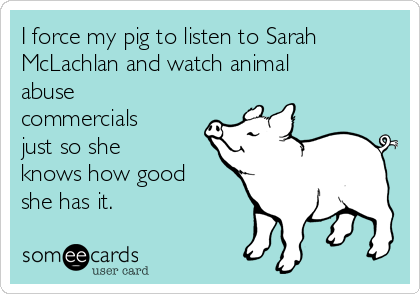 I force my pig to listen to Sarah McLachlan and watch animal abuse commercials just so she knows how good she has it.